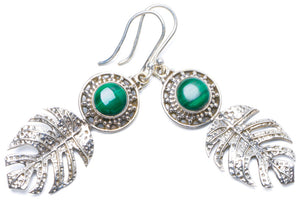 "Natural Malachite Handmade Unique 925 Sterling Silver Earrings 2"" Y0305"