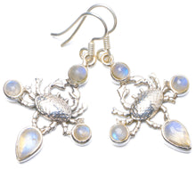 "Natural Rainbow Moonstone Handmade Unique 925 Sterling Silver Earrings 1.75"" Y0364"