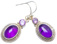 "Natural Amethyst Handmade Unique 925 Sterling Silver Earrings 1.5"" Y0370"