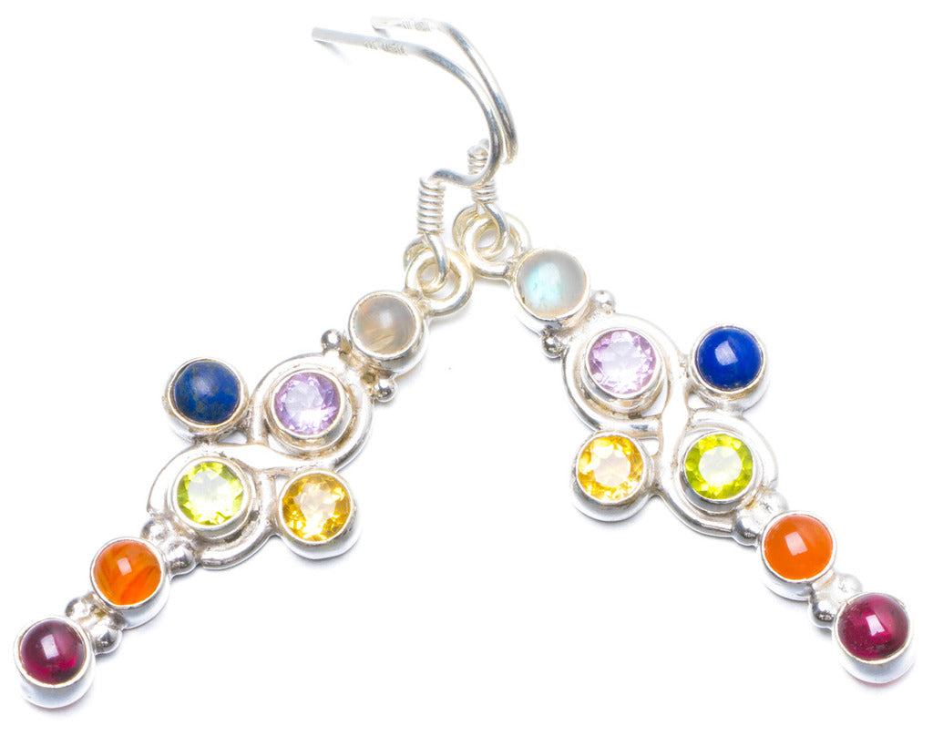 Natural Carnelian,Peridot,Citrine,Lapis Lazuli,Amethyst and Moonstone 925 Silver Earrings 2