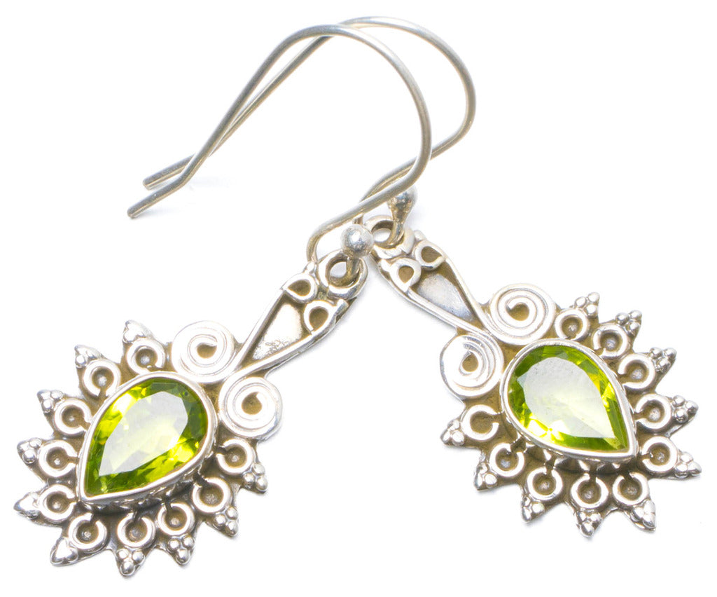 Natural Peridot Handmade Unique 925 Sterling Silver Earrings 1.5