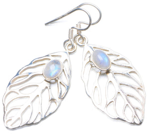 "Natural Rainbow Moonstone Handmade Unique 925 Sterling Silver Earrings 2"" Y0450"