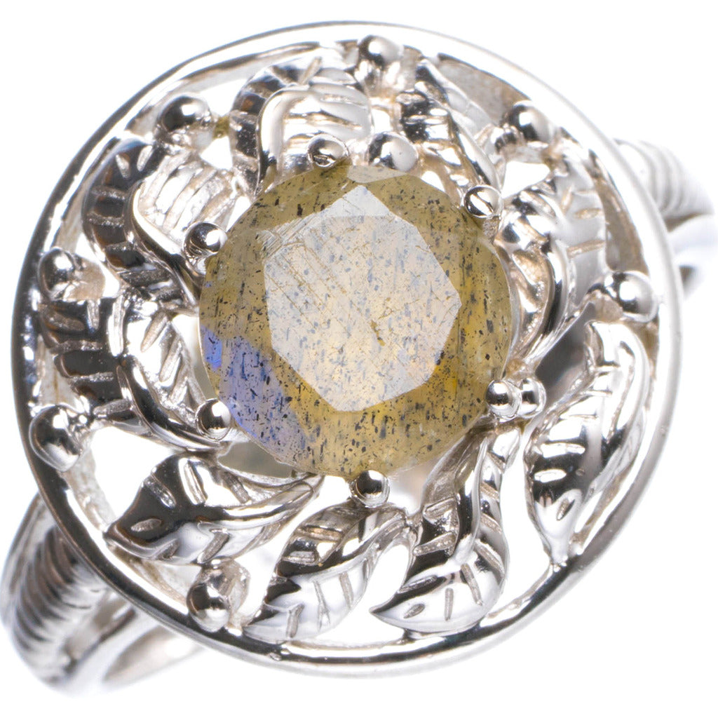 Natural Labradorite Handmade Flower 925 Sterling Silver Ring 6.5 Y4515