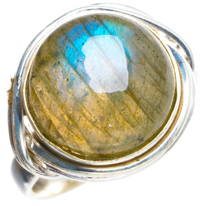 Natural Blue Fire Labradorite Handmade Unique 925 Sterling Silver Ring 7.5 Y4531