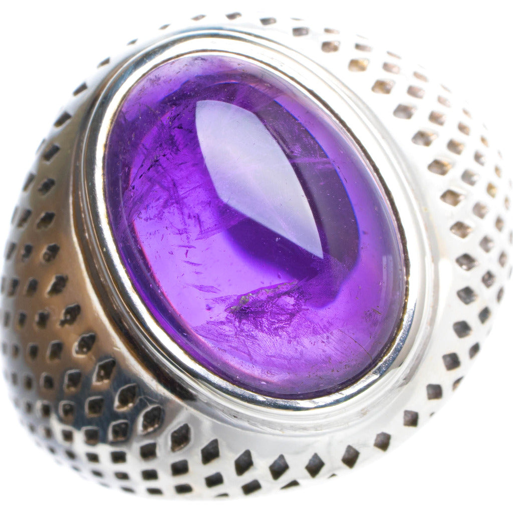 Natural Amethyst Handmade Unique 925 Sterling Silver Ring 7.75 Y4562