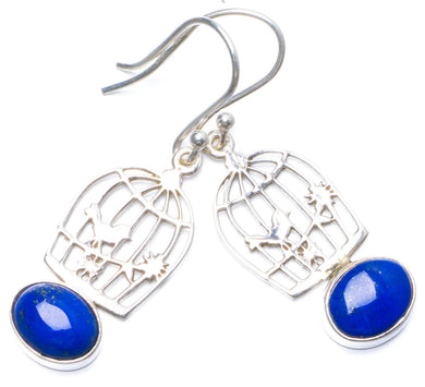 Natural Lapis Lazuli Handmade Unique 925 Sterling Silver Earrings 1.5