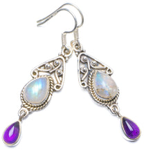 "Natural Rainbow Moonstone and Amethyst Handmade Unique 925 Sterling Silver Earrings 2"" Y0524"
