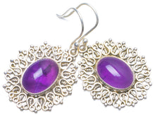 "Natural Amethyst Handmade Unique 925 Sterling Silver Earrings 1.5"" Y0532"