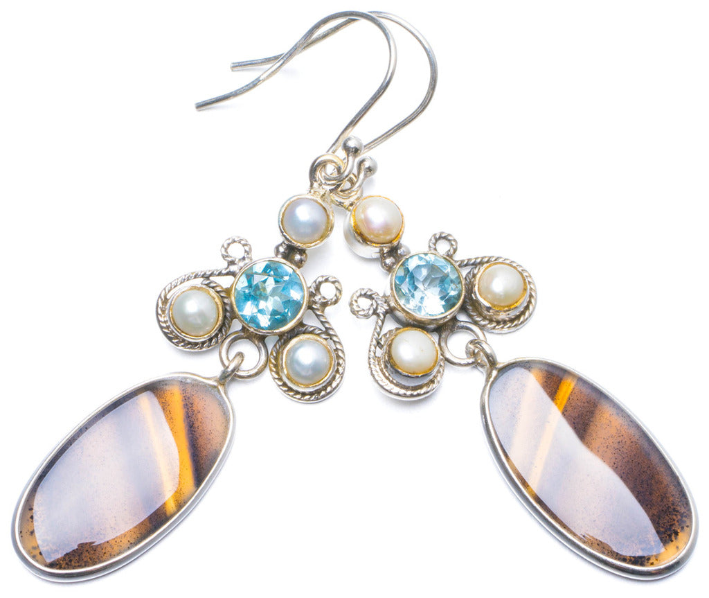 Natural Botswana Agate,River Pearl and Blue Topaz Handmade Unique 925 Sterling Silver Earrings 2.5