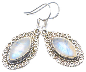 "Natural Rainbow Moonstone Handmade Unique 925 Sterling Silver Earrings 1.5"" Y0628"