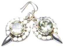 "Natural Green Amethyst Handmade Unique 925 Sterling Silver Earrings 1.25"" Y0632"