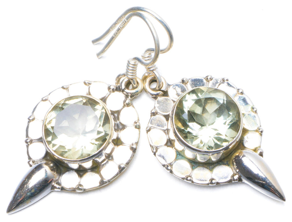 Natural Green Amethyst Handmade Unique 925 Sterling Silver Earrings 1.25