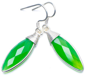 "Natural Chrysoprase Handmade Unique 925 Sterling Silver Earrings 1.75"" Y0651"