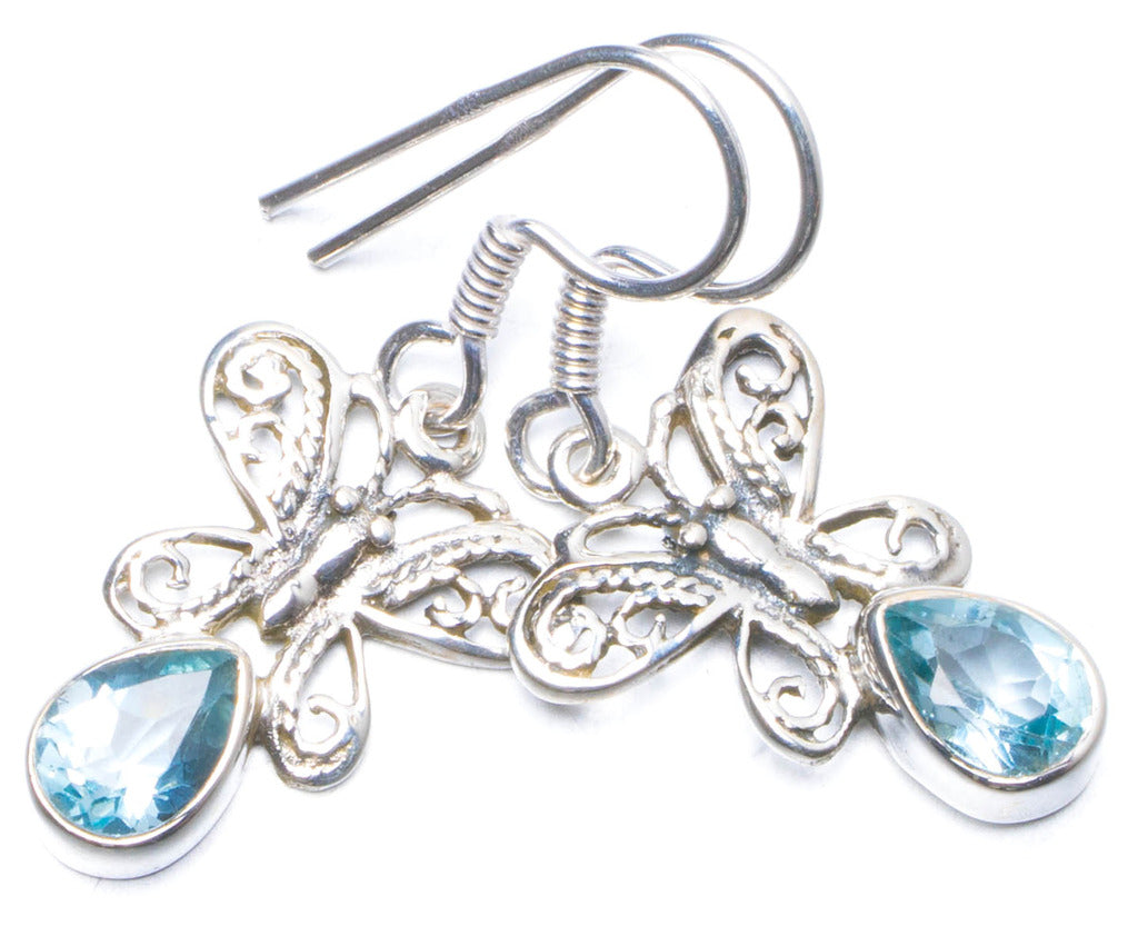 Natural Blue Topaz Handmade Unique 925 Sterling Silver Earrings 1