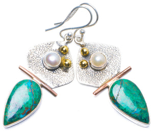 "Natural Two Tones Chrysocolla and River Pearl Handmade Unique 925 Sterling Silver Earrings 2"" Y0664"