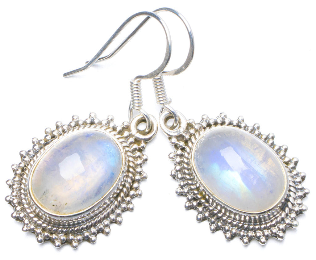 Natural Rainbow Moonstone Handmade Unique 925 Sterling Silver Earrings 1.25