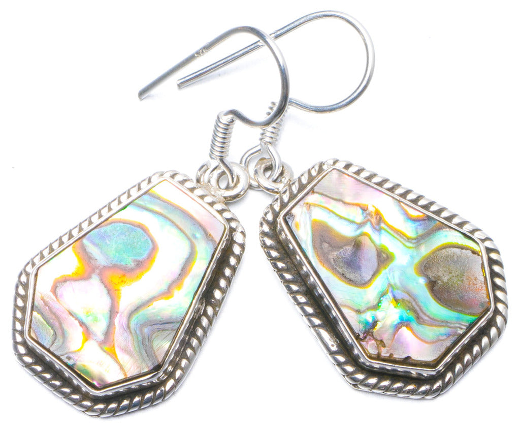 Natural Abalone Shell Handmade Unique 925 Sterling Silver Earrings 1.25