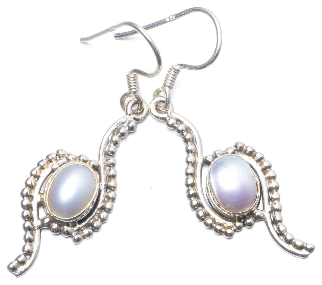 Natural River Pearl Handmade Unique 925 Sterling Silver Earrings 1.5