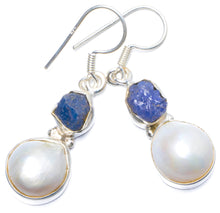 "Natural Biwa Pearl and Kyanite Handmade Unique 925 Sterling Silver Earrings 1.5"" Y0724"