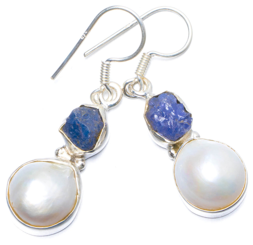Natural Biwa Pearl and Kyanite Handmade Unique 925 Sterling Silver Earrings 1.5