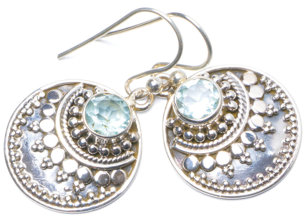 Natural Blue Topaz Handmade Unique 925 Sterling Silver Earrings 1.25