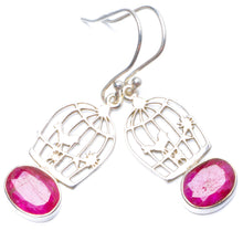 "Natural Cherry Ruby Handmade Unique 925 Sterling Silver Earrings 1.5"" Y0765"