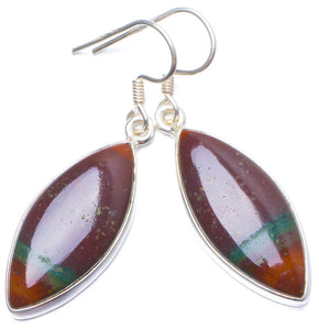 "Natural Blood Stone Handmade Unique 925 Sterling Silver Earrings 1.5"" Y0770"