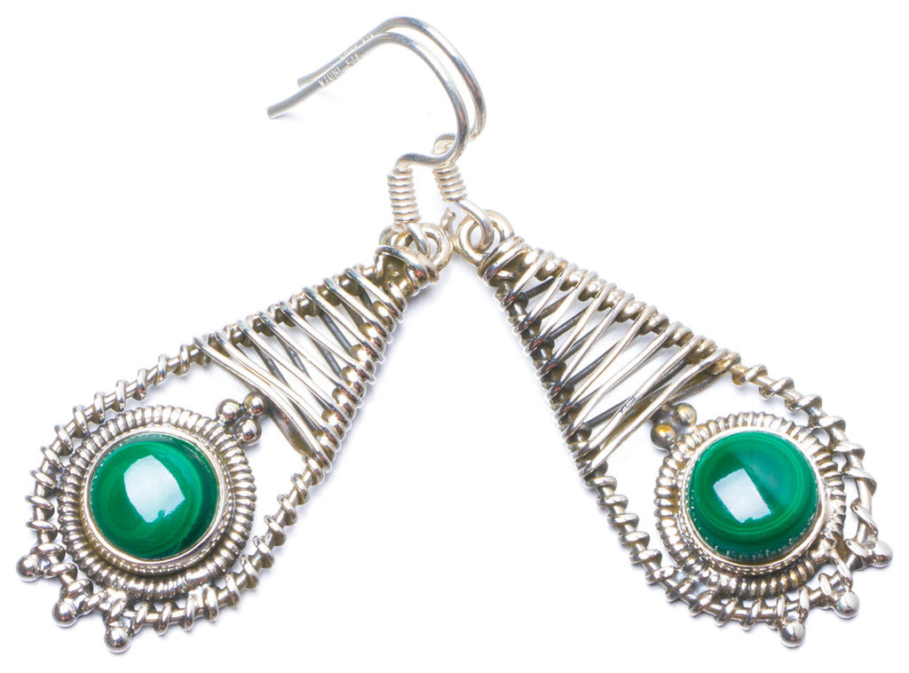 Natural Malachite Handmade Unique 925 Sterling Silver Earrings 1.75