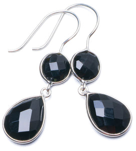 "Natural Black Onyx Handmade Unique 925 Sterling Silver Earrings 1.5"" Y0796"