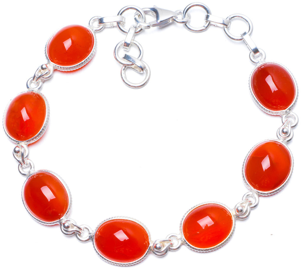 Natural Carnelian Handmade Unique 925 Sterling Silver Bracelet 7 1/4-8