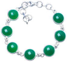 "Natural Chrysoprase Handmade Unique 925 Sterling Silver Bracelet 7-8 1/4"" Y0838"