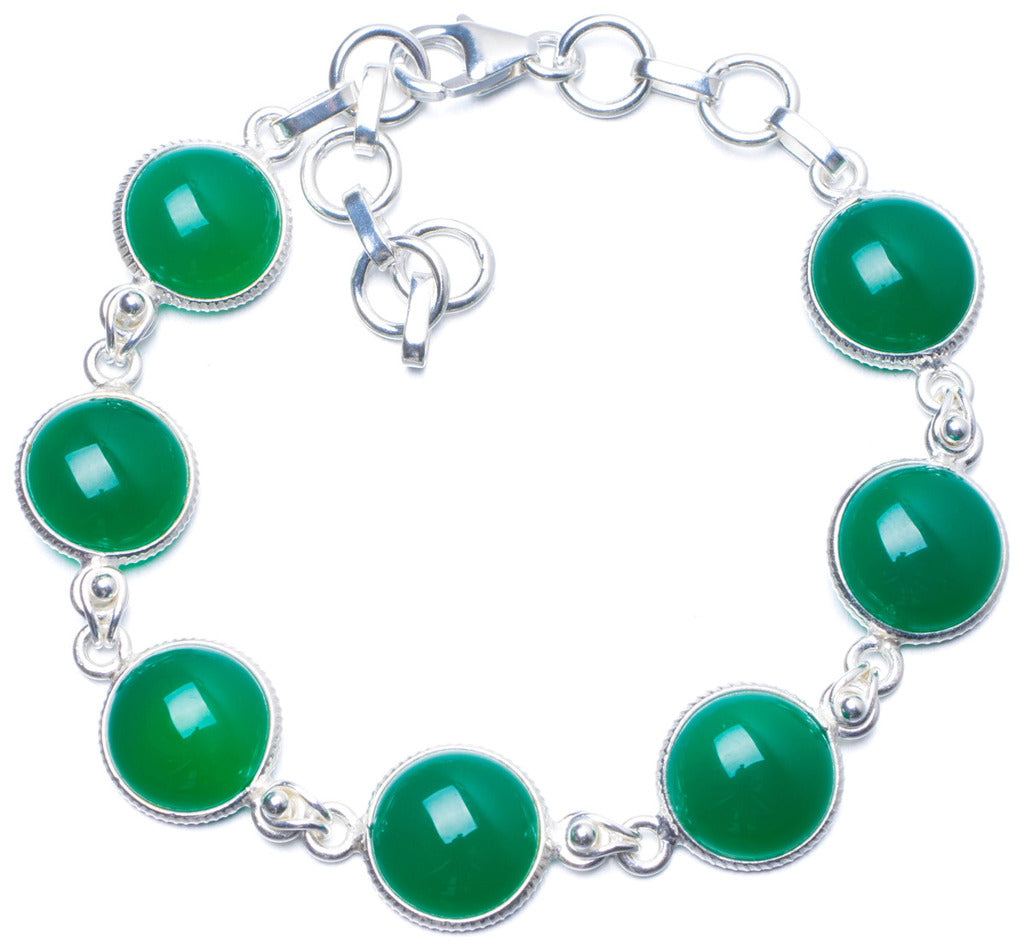 Natural Chrysoprase Handmade Unique 925 Sterling Silver Bracelet 7-8 1/4