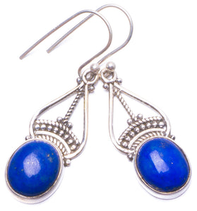 "Natural Lapis Lazuli Handmade Unique 925 Sterling Silver Earrings 1.5"" Y0924"