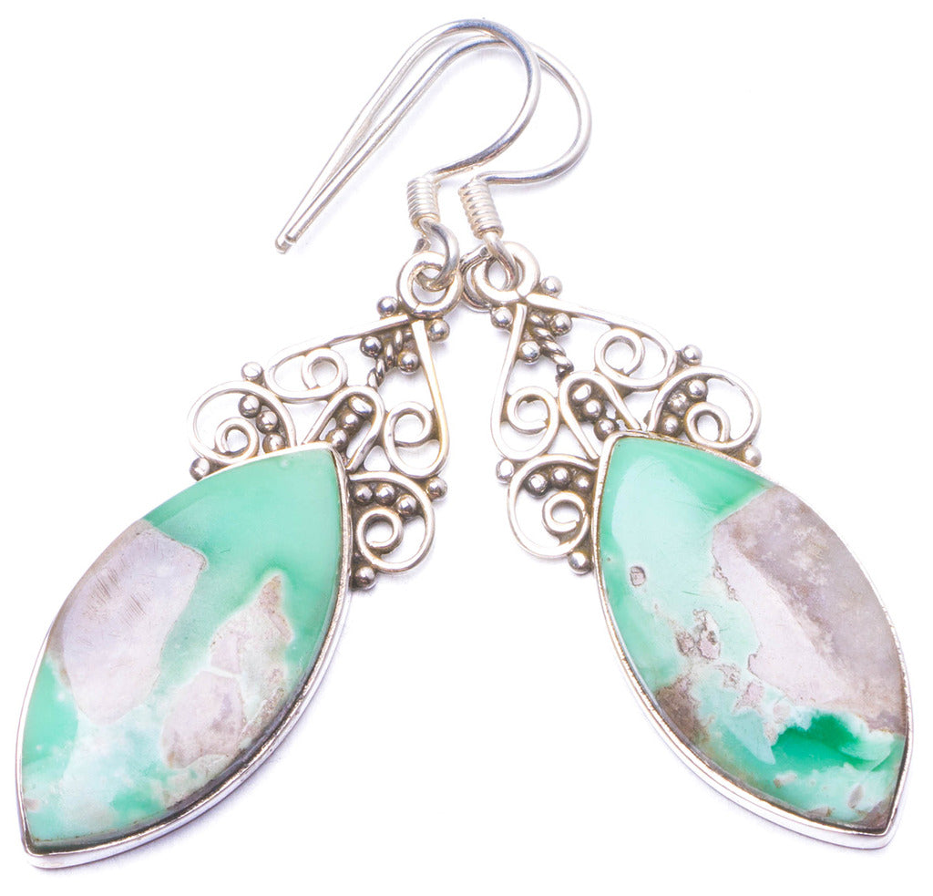 Natural Australian Chrysoprase Handmade Unique 925 Sterling Silver Earrings 2