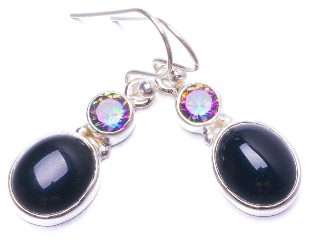 Natural Black Onyx and Mystical Topaz Handmade Unique 925 Sterling Silver Earrings 1.25