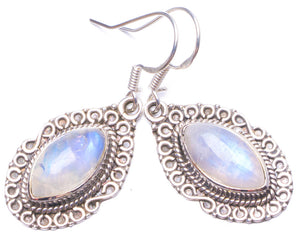 "Natural Rainbow Moonstone Handmade Unique 925 Sterling Silver Earrings 1.25"" Y0968"