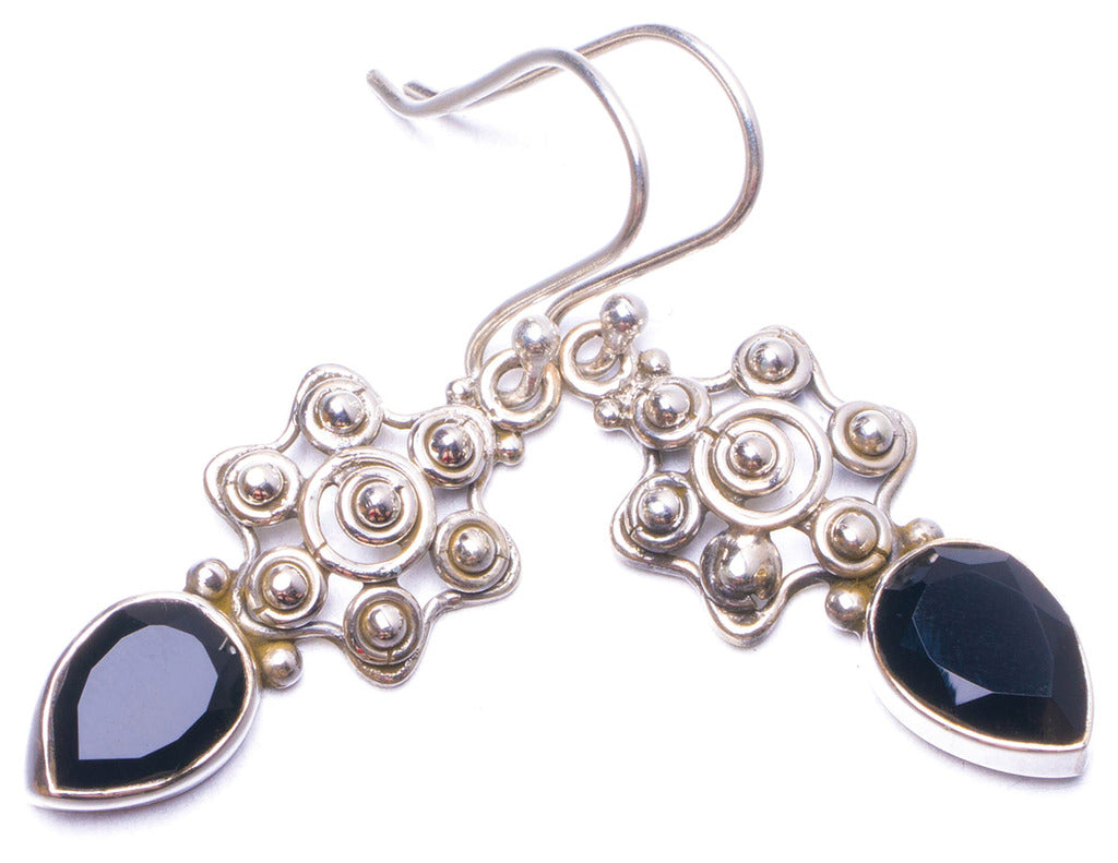 Natural Black Onyx Handmade Unique 925 Sterling Silver Earrings 1.5