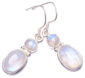 "Natural Rainbow Moonstone Handmade Unique 925 Sterling Silver Earrings 1.5"" Y0972"