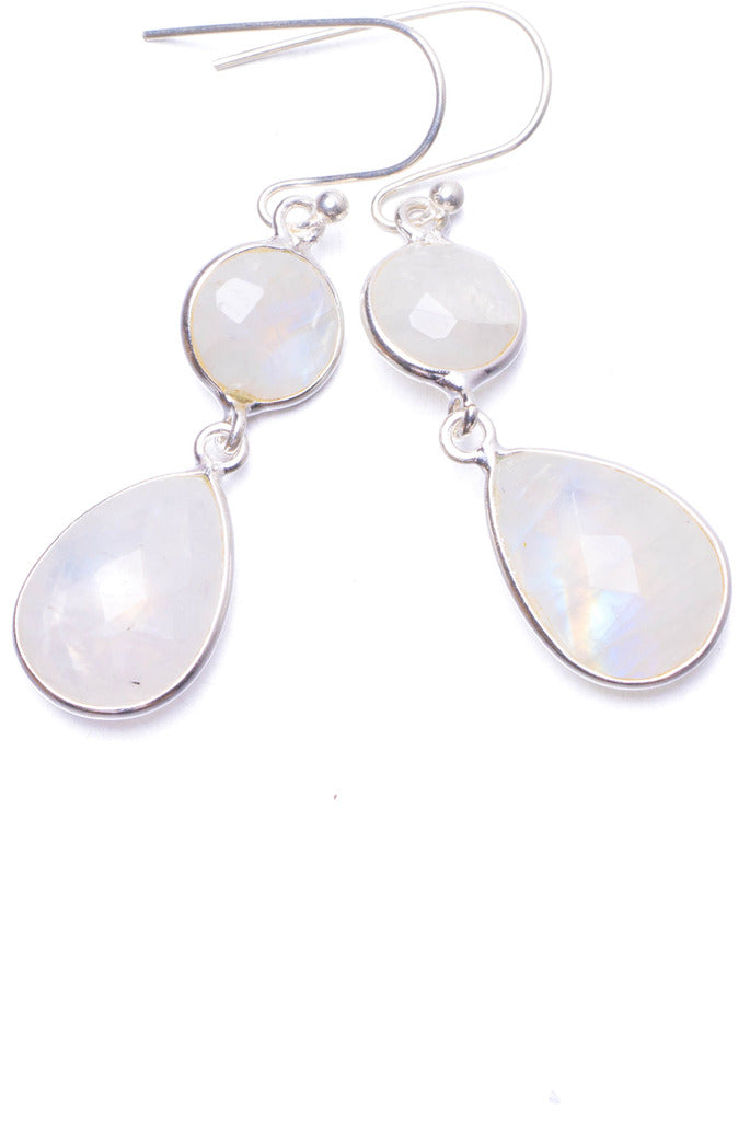 Natural Rainbow Moonstone Handmade Unique 925 Sterling Silver Earrings 1.5