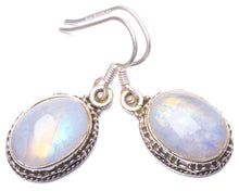 "Natural Rainbow Moonstone Handmade Unique 925 Sterling Silver Earrings 1.25"" Y1081"