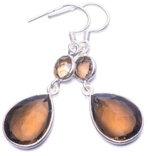"Natural Smoky Quartz Handmade Unique 925 Sterling Silver Earrings 1.5"" Y1112"
