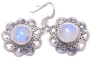 "Natural Moonstone Handmade Unique 925 Sterling Silver Earrings 1.5"" Y1135"