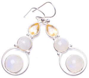 "Natural Moonstone and Citrine Handmade Unique 925 Sterling Silver Earrings 1.75"" Y1137"