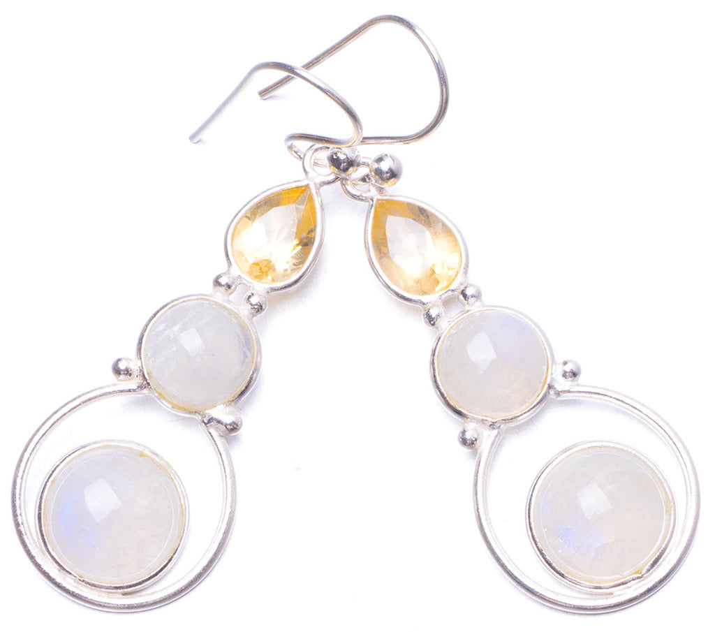 Natural Moonstone and Citrine Handmade Unique 925 Sterling Silver Earrings 1.75