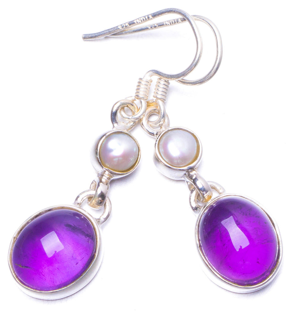 Natural Amethyst and River Pearl Handmade Unique 925 Sterling Silver Earrings 1.5