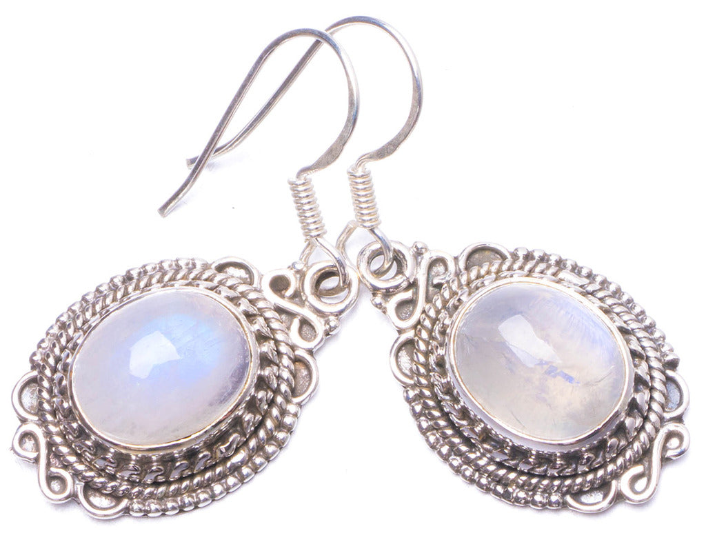 Natural Moonstone Handmade Unique 925 Sterling Silver Earrings 1.25