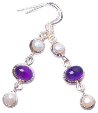 Natural River Pearl and Amethyst Handmade Unique 925 Sterling Silver Earrings 2