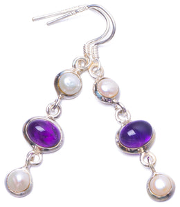 "Natural River Pearl and Amethyst Handmade Unique 925 Sterling Silver Earrings 2"" Y1178"