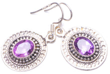 "Natural Amethyst Handmade Unique 925 Sterling Silver Earrings 1.25"" Y1187"