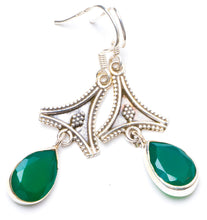 "Natural Chrysoprase Handmade Unique 925 Sterling Silver Earrings 1.75"" Y1202"